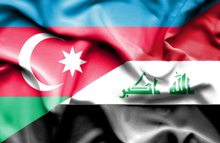 iraq money: Waving flag of Iraq and Azerbaijan Stock Photo
