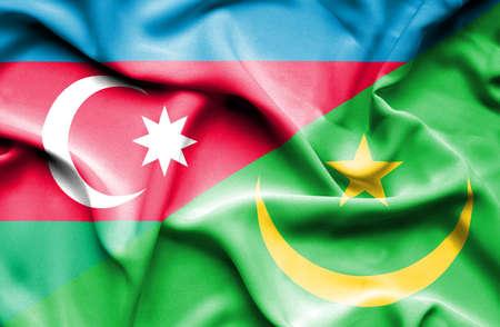 mauritania: Waving flag of Mauritania and Azerbaijan