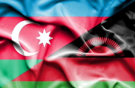 malawian: Waving flag of Malawi and Azerbaijan