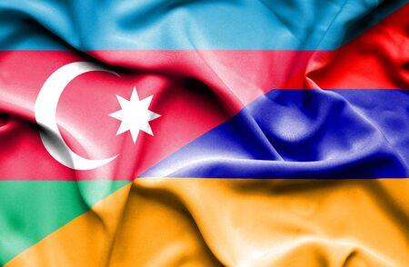 armenia: Waving flag of Armenia and Azerbaijan Stock Photo