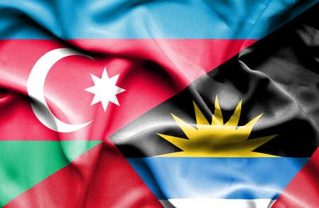 antigua: Waving flag of Antigua and Barbuda and Azerbaijan Stock Photo