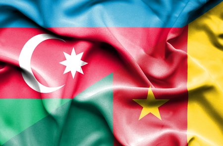 cameroon: Waving flag of Cameroon and Azerbaijan