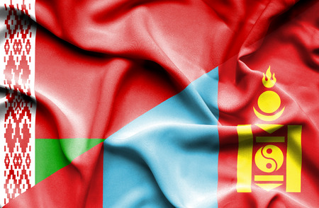mongolia: Waving flag of Mongolia and Belarus