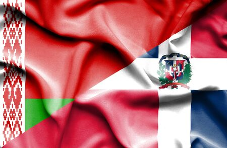 dominican: Waving flag of Dominican Republic and Belarus