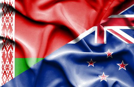 bandera de nueva zelanda: Waving flag of New Zealand and Belarus