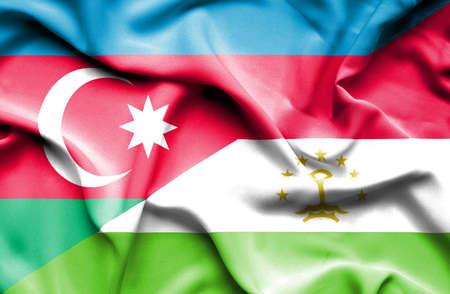 tajikistan: Waving flag of Tajikistan and Azerbaijan