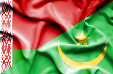 mauritania: Waving flag of Mauritania and Belarus Stock Photo