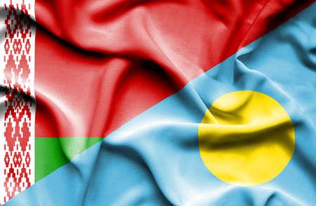palau: Waving flag of Palau and Belarus