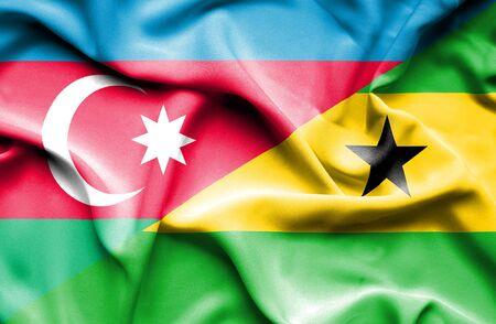 principe: Ondeando la bandera de Santo Tomé y Príncipe y Azerbaiyán Foto de archivo