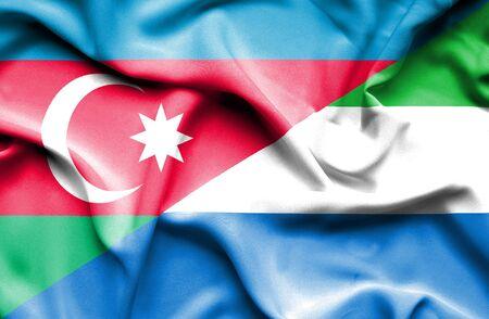sierra leone: Waving flag of Sierra Leone and Azerbaijan