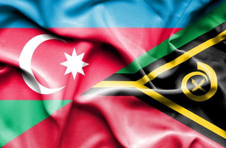 vanuatu: Waving flag of Vanuatu and Azerbaijan