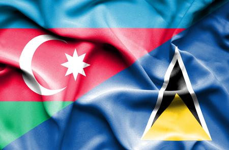 st lucia: Waving flag of St Lucia and Azerbaijan Stock Photo
