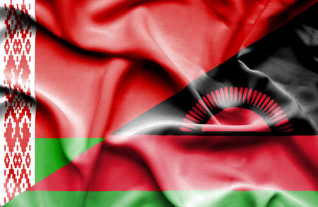 malawian flag: Waving flag of Malawi and Belarus Stock Photo