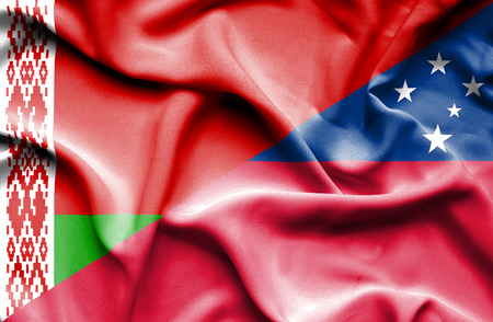 samoa: Waving flag of Samoa and Belarus