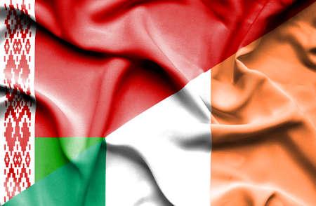 irish history: Waving flag of Ireland and Belarus