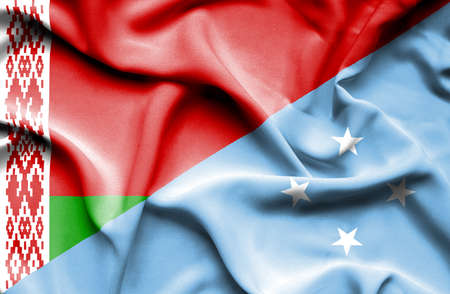micronesia: Waving flag of Micronesia and Belarus Stock Photo
