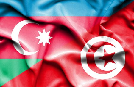 tunisia: Waving flag of Tunisia and Azerbaijan Stock Photo