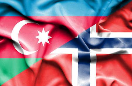 norway flag: Waving flag of Norway and Azerbaijan Stock Photo
