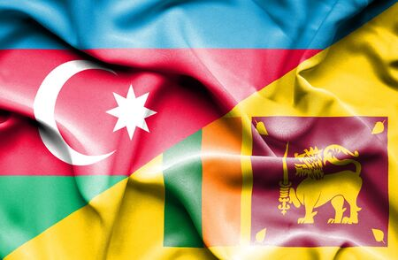 sri: Waving flag of Sri Lanka and Azerbaijan Stock Photo