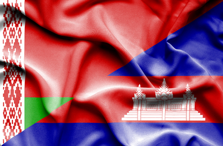 cambodian: Waving flag of Cambodia and Belarus Stock Photo