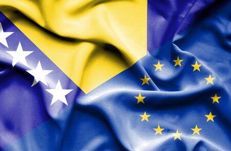 bosnia and herzegovina flag: Waving flag of European Union and Bosnia and Herzegovina
