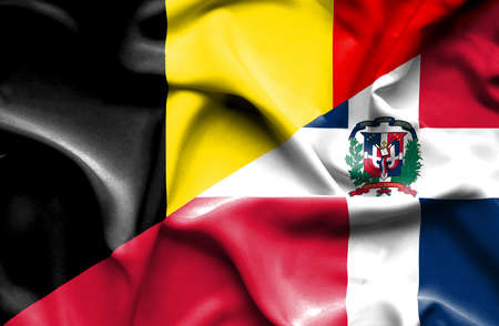 dominican republic: Waving flag of Dominican Republic and Belgium