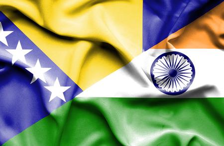 bosnia and herzegovina flag: Waving flag of India and Bosnia and Herzegovina