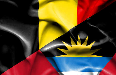 antigua: Waving flag of Antigua and Barbuda and Belgium