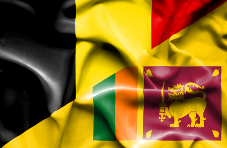 sri lankan flag: Waving flag of Sri Lanka and Belgium Stock Photo