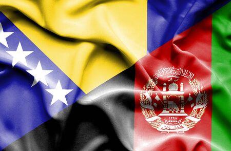 herzegovina: Waving flag of Afghanistan and Bosnia and Herzegovina Stock Photo