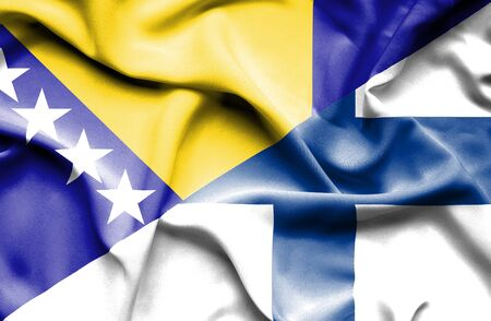 bosnia and herzegovina flag: Waving flag of Finland and Bosnia and Herzegovina