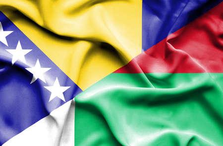 bosnia and herzegovina flag: Waving flag of Madagascar and Bosnia and Herzegovina