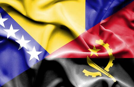 bosnia and  herzegovina: Waving flag of Angola and Bosnia and Herzegovina Stock Photo