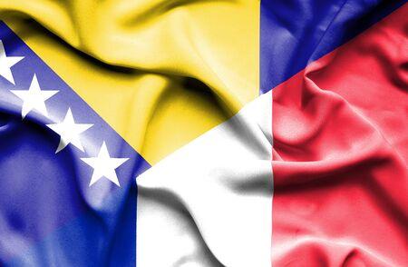 bosnia and herzegovina flag: Waving flag of France and Bosnia and Herzegovina