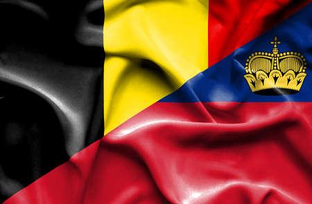 lichtenstein: Waving flag of Lichtenstein and Belgium