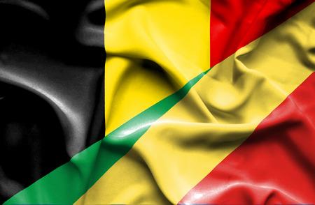 congo: Waving flag of Congo Republic and Belgium