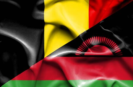 malawian flag: Waving flag of Malawi and Belgium