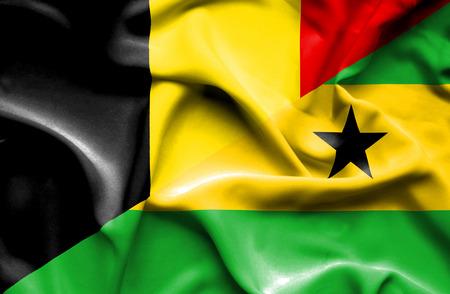 principe: Ondeando la bandera de Santo Tomé y Príncipe y Bélgica