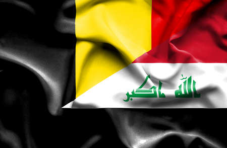 iraq conflict: Waving flag of Iraq and Belgium