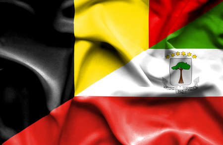 equatorial: Waving flag of Equatorial Giuinea and Belgium