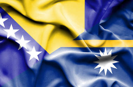 bosnia and  herzegovina: Waving flag of Nauru and Bosnia and Herzegovina