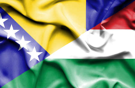 bosnia and herzegovina flag: Waving flag of Hungary and Bosnia and Herzegovina Stock Photo