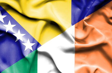 bosnia and herzegovina flag: Waving flag of Ireland and Bosnia and Herzegovina