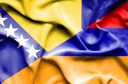 herzegovina: Waving flag of Armenia and Bosnia and Herzegovina