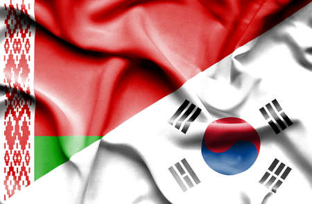 south korea: Waving flag of South Korea and Belarus