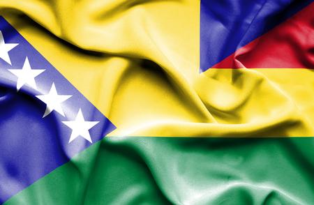 herzegovina: Waving flag of Bolivia and Bosnia and Herzegovina