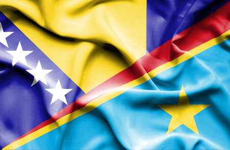 democratic: Waving flag of Congo Democratic Republic and Bosnia and Herzegovina
