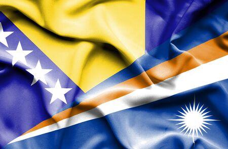 marshall: Waving flag of Marshall Islands and Bosnia and Herzegovina