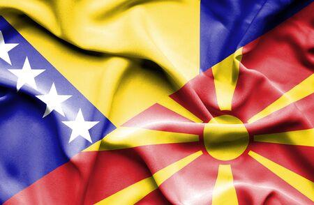 herzegovina: Waving flag of Macedonia and Bosnia and Herzegovina Stock Photo
