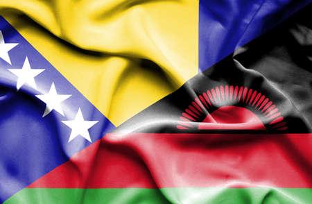 malawian: Waving flag of Malawi and Bosnia and Herzegovina